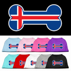 Iceland flag bone shape outline sleeveless dog t-shirt multi color