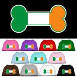 Ireland flag bone shape outline sleeveless dog t-shirt multi color