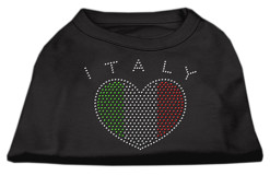 Italy flag heart rhinestones dog t-shirt baby black