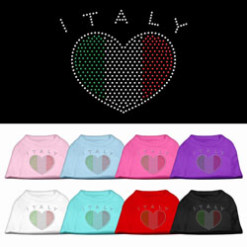Italy flag heart rhinestones dog t-shirt colors