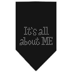It's all about me rhinestone dog bandana black