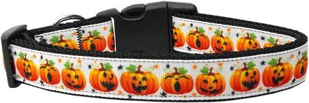 Jack-o-Lantern Facial Expressions Adjustable Dog Collar pumpkin for Halloween