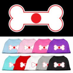 Japan flag bone shape outline sleeveless dog t-shirt multi color