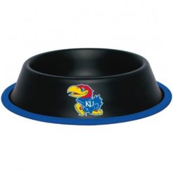 Kanas Jayhawks Black Stainless Dog Bowl