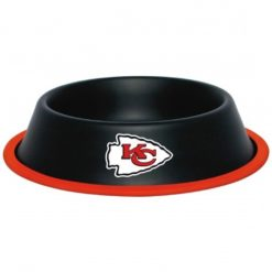 Kansas City KC Chiefs Stainless Black Dog Bowl
