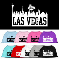 Las Vegas skyline silhouette t-shirt sleeveless dog multi-colors