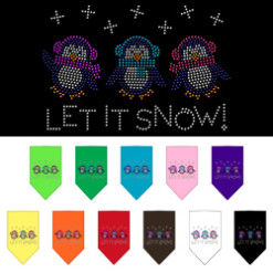 Let it Snow Penguins rhinestone dog bandanas