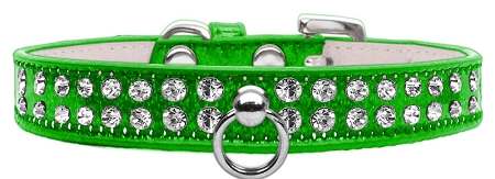 Lime Green Dog Collar with Czech Crystals