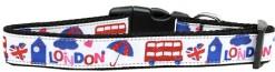 London Tourist Adjustable Dog Collar UK Flag Double Decker Bus