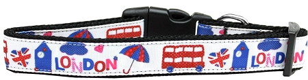 London Tourist Adjustable Dog Collar UK Flag Double Decker Bus