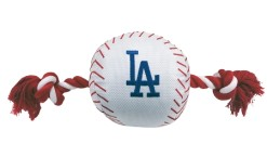Los Angeles Dodgers plush baseball and rope dog toy