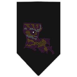 Louisiana State outline Mardi Gras rhinestone bandana