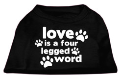 Love is a Four Legged Word t-shirt sleeveless dog black