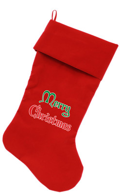 Merry Christmas dog stocking red