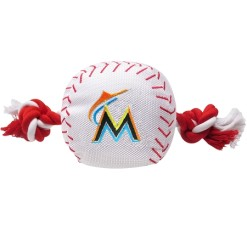 Miami Marlins MLB baseball dog toy and rope