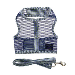 Navy Plaid Seersucker Cool Mesh Dog Harness and Leash front