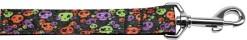 Neon Skulls Halloween nylon dog collar confetti