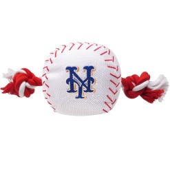 New York Mets MLB baseball dog toy and rope