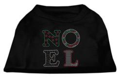 Noel Christmas rhinestones dog t-shirt black