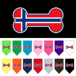 Norway flag dog bone bandana