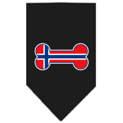 Norway flag dog bone bandana black