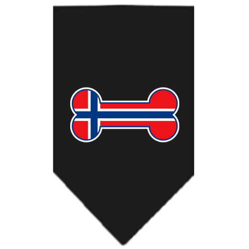 Norway flag dog bone bandana black