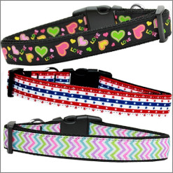 Themed Ribbon Adjustable Nylon Dog Collars