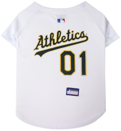 Oakland Athletics MLB dog jersey on back