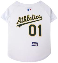 Oakland Athletics MLB dog jersey on back