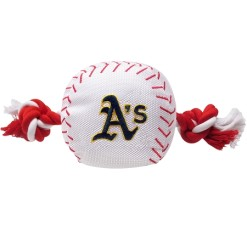Oakland Athletics MLB plush baseball and rope dog toy
