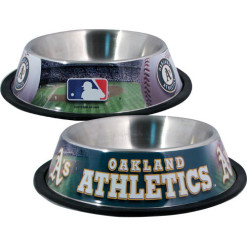Oakland Athletics stainless dog bowl
