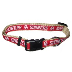 Oklahoma Sooner nylon adjustable dog collar