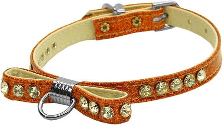 Orange Bow Dog Collar with Austrian Crystals