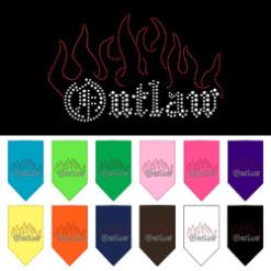 Outlaw and Flames rhinestone dog bandana