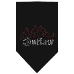 Outlaw and Flames rhinestone dog bandana black