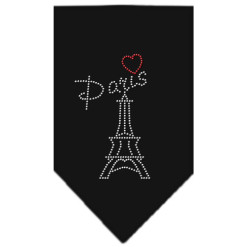 Paris Eiffel Tower heart rhinestone dog bandana black