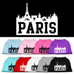 Paris France Skyline Screenprint t-shirt sleeveless dog multi-colors