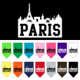 Paris silhouette skyline dog bandana