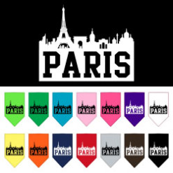 Paris silhouette skyline dog bandana