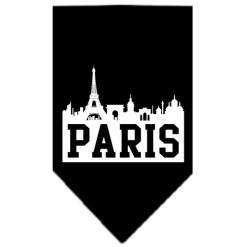 Paris silhouette skyline dog bandana black