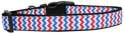 Patriotic Chevron Adjustable dog collar red white blue