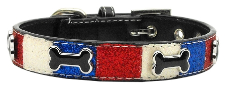 Patriotic Red, White & Blue Leather Dog Collar with Dog Bone Accents