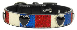 Patriotic Red, White & Blue Leather Dog Collar with Heart Accents