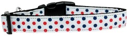 Patriotic Red White and Blue Polka Dots Dog Collar