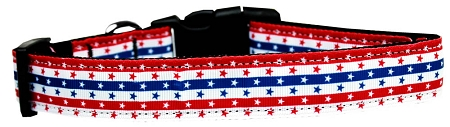 Patriotic Stars and Stripes Red White and Blue adjustable dog collar