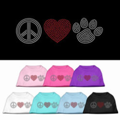Peace Love and Dog paw rhinestones dog t-shirt colors