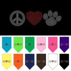 Peace Love and dog paw rhinestone dog bandana
