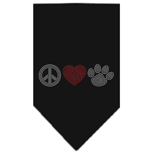 Peace Love and dog paw rhinestone dog bandana black