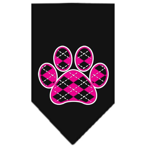 Pink Argyle dog paw bandana black