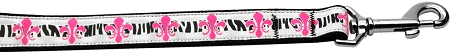 Pink Fleur de Lis Zebra Print dog leash Mardi Gras
